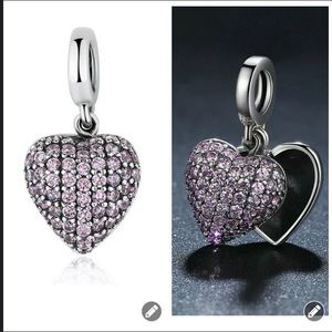 Crystal Heart European Charm Fit Pandora Bracelet